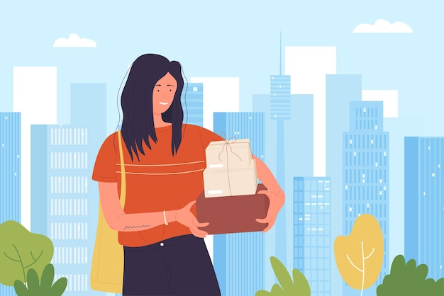Happy shopper girl with purchase boxes after shopping discount sales in shop store