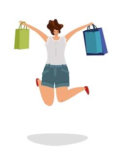 幸せな買い物客。店からのギフトバッグ、孤立したフラットベクトル消費者コンセプトでジャンプする若い女性