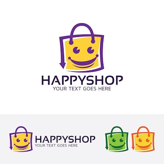 Happy shopping logo template