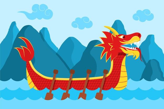 Счастливый боком лодка дракона на воде