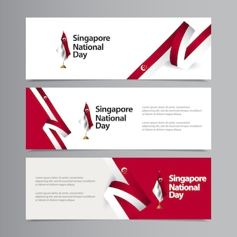 Happy singapore independence day celebration creative   template