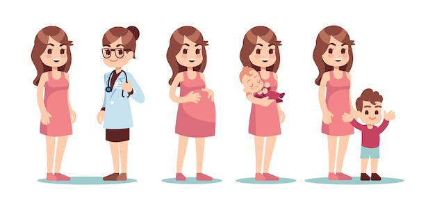 Happy single mother. in vitro fertilization ivf vector concept. doctor, pregnant woman and baby. doctor and woman pregnant, fetus and baby care illustration