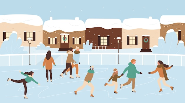 Счастливые фигуристы катаются на коньках на катке, рождественское мероприятие