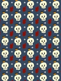 Happy skull on dark seamless pattern