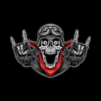 Счастливый череп металлический байкер