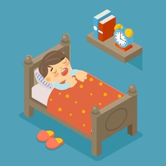 Felice di dormire. ragazzo addormentato. ragazzino, persona carina, sogno dolce, camera da letto confortevole