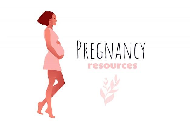 幸せなスリムフィット妊婦ダンス。妊娠リソースの種類。アクティブなフィット感のある妊娠中の女性キャラクター。