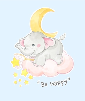 Happy slogan with cute elephant with stars illustration