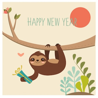 Happy sloth for new year greeting card