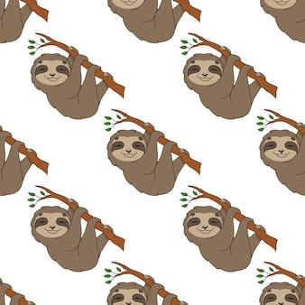 Happy sloth seamless pattern wallpaper
