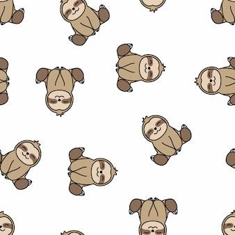 Happy sloth sitting cartoon seamless pattern