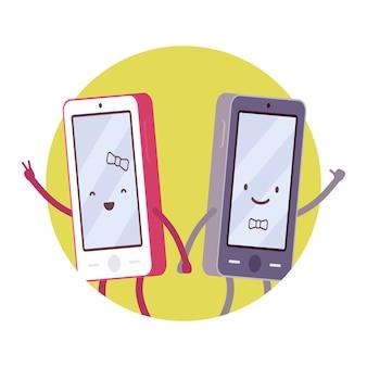 Happy smartphone pair