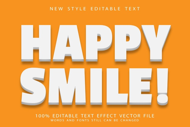 Happy smile editable text effect emboss modern style