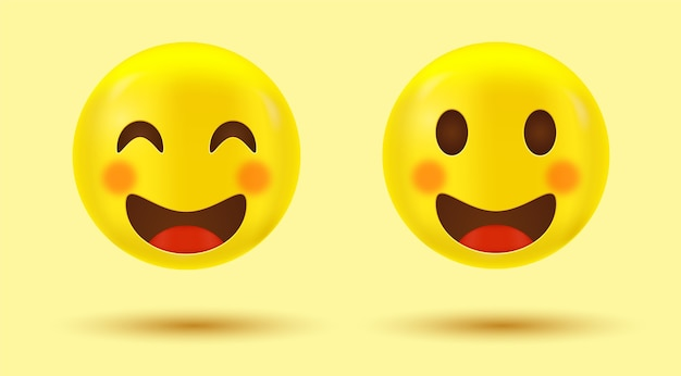 Happy smiley face cute emoji or smiling emoticon with smiling eyes