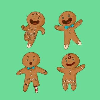Happy smiley gingerbread man cookie collection