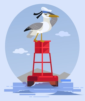 Happy smiling albatross bird character in captain hat sitting on lighthouse and looking.