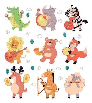 Happy smiling animals characters play music on different musician instrument isolated set