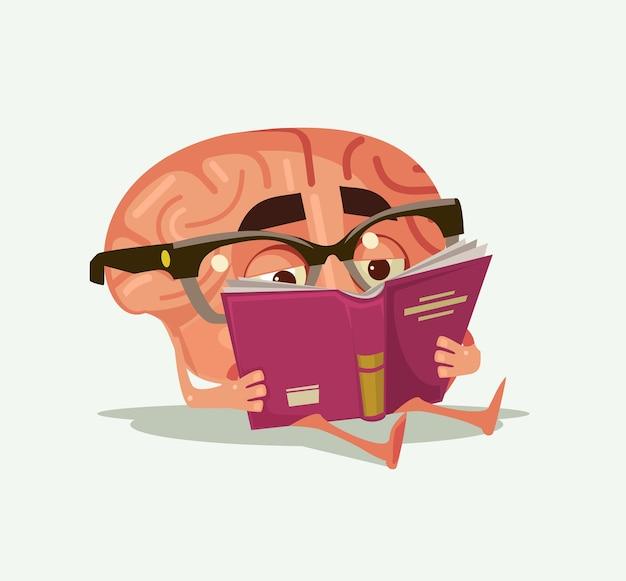 幸せな笑顔の脳のキャラクターは本を読む