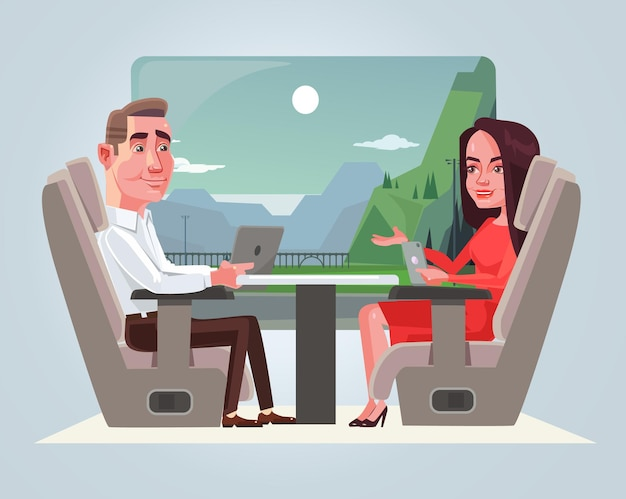 Happy smiling business man and woman characters talking in train