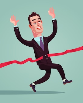Счастливый улыбающийся бизнесмен офисный работник персонаж, пересекающий красную линию.