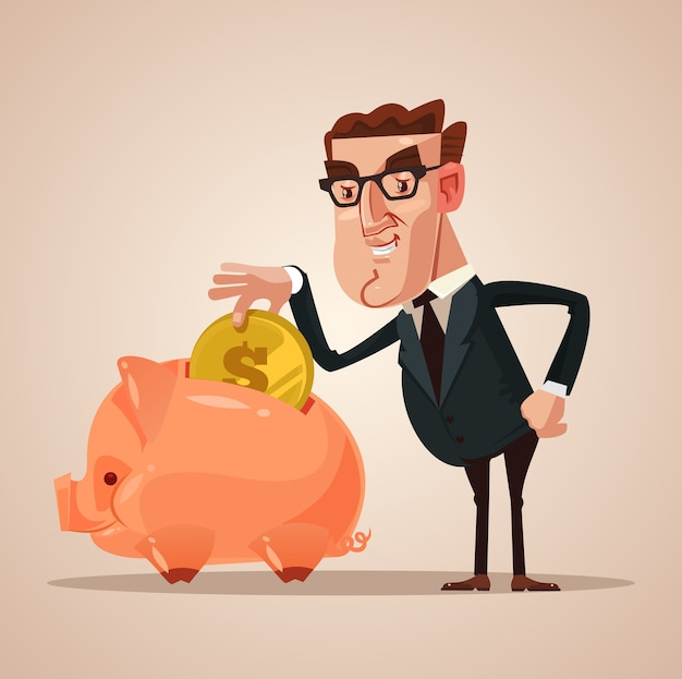 Happy smiling businessman office worker character put gold coin in piggy bank. successful business .