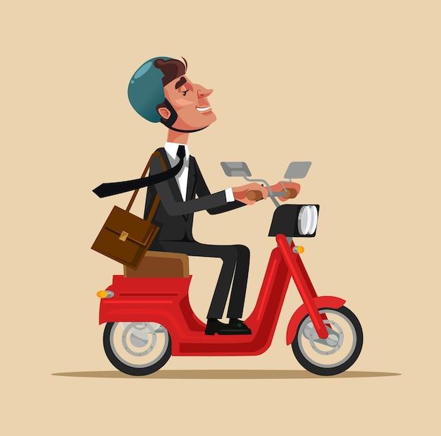 幸せな笑顔のビジネスマンのサラリーマンのキャラクターが自転車に乗って仕事に移動します。健康的なライフスタイルの輸送