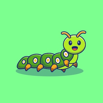 Счастливый улыбающийся дизайн иллюстрации гусеницы