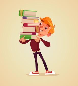 幸せな笑顔の陽気な男の子の学生キャラクターは、本のフラット漫画イラストの山を保持します