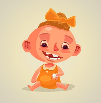 Happy smiling child character holds dying baby tooth.