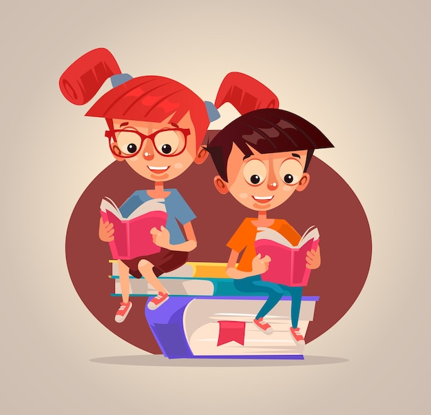 Happy smiling children boy and girl characters reading books.
