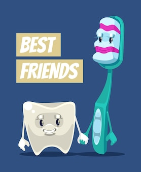 Happy smiling clean tooth and brush characters best friends flat cartoon illustration
