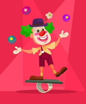 Happy smiling clown character juggling on bike.