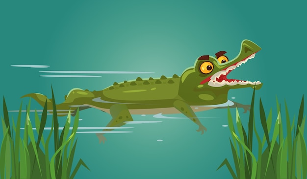 Happy smiling crocodile character swimming.