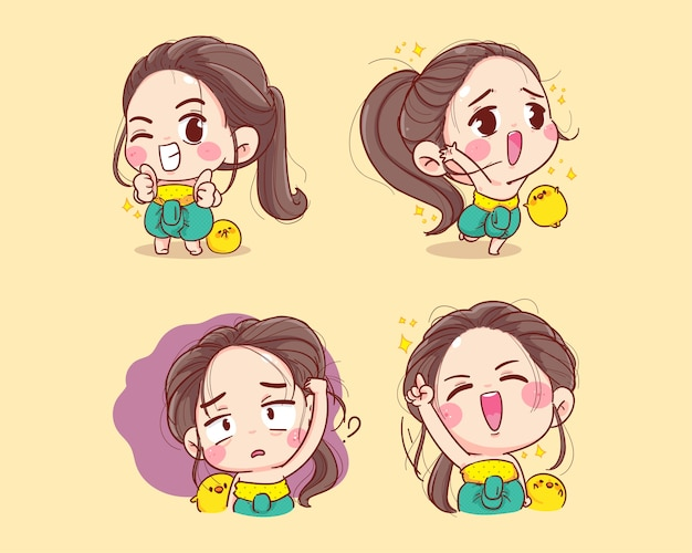 Happy smiling cute characters in thai traditional collection cartoon set illustration mascot.