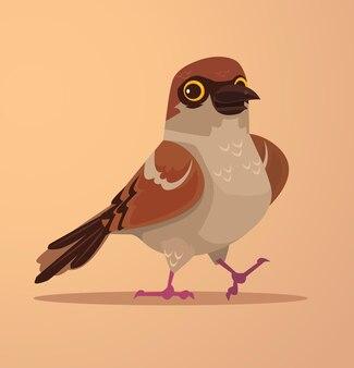 Happy smiling cute sparrow character mascot flat cartoon illustration