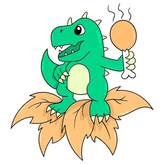A happy smiling dinosaur holding a fried chicken thigh ready to eat, vector illustration art. doodle icon image kawaii.