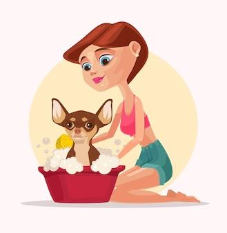 Счастливый улыбающийся персонаж собаки принимает ванну с владельцем женщины