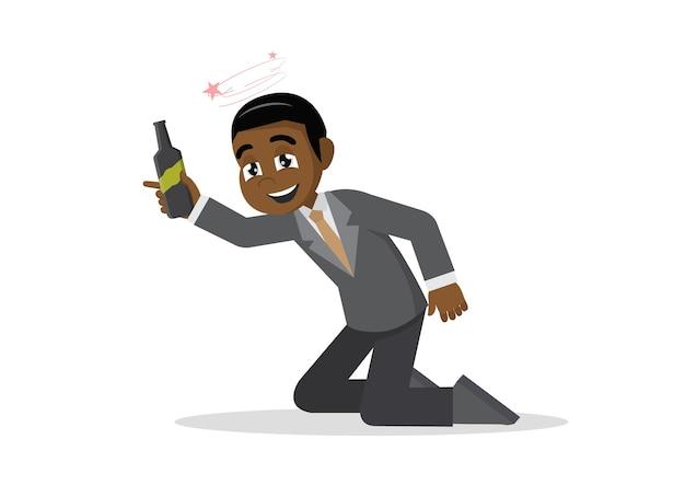 Happy smiling drunk african businessman.
