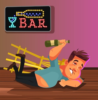 Happy smiling drunk man character laying on bar floor. funny party concept.