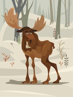 Счастливый улыбающийся талисман персонажа из лося, гуляющий по лесу. плоский мультфильм иллюстрации