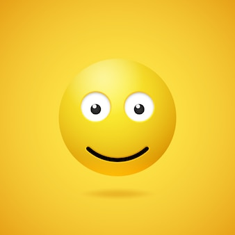 Happy smiling emoticon with opened eyes and mouth