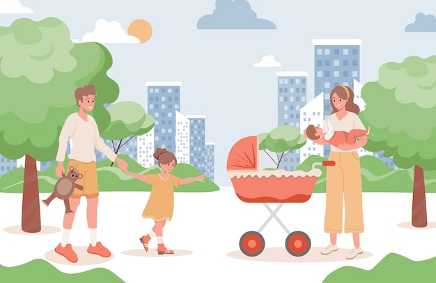 Happy smiling family walking in city park flat illustration. mother, father, young girl, and newborn baby.