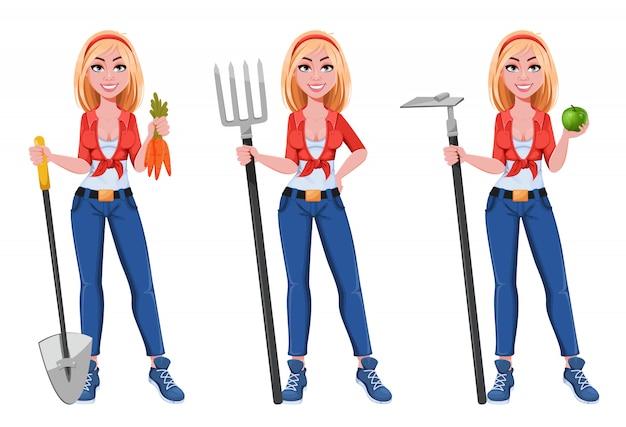 행복 미소 농장 소녀, 세 가지 포즈의 설정