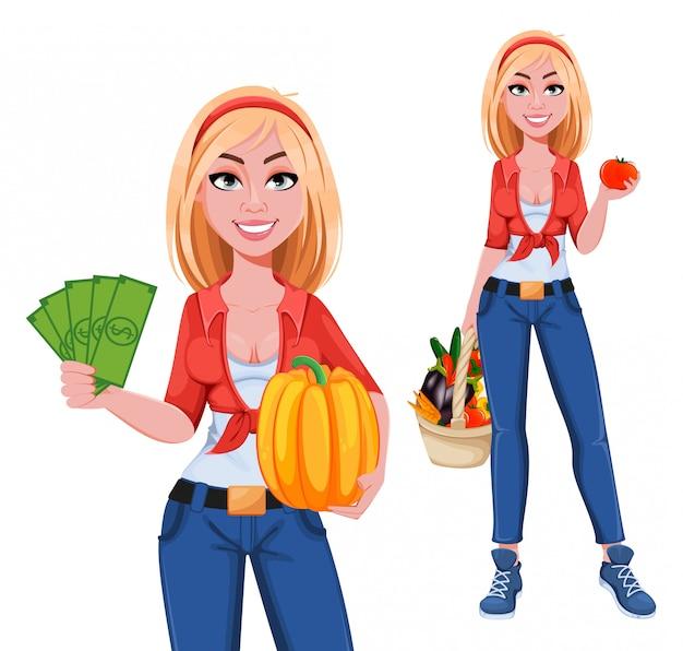 행복 미소 농장 소녀, 두 포즈의 설정