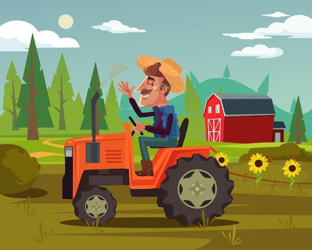 幸せな笑顔の農家の運転手はトラクターの車に乗って野菜の果物畑を収穫します