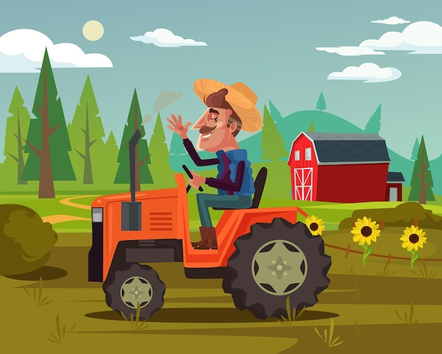 Happy smiling farmer driver ride tractor car and harvest vegetables fruits field