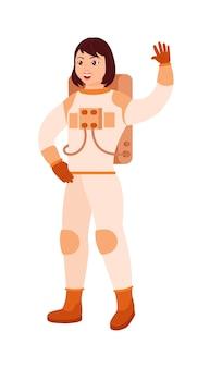 白い背景で隔離の幸せな笑顔の女性宇宙飛行士