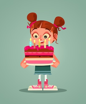 Happy smiling girl character holding cake with candle and making wishes