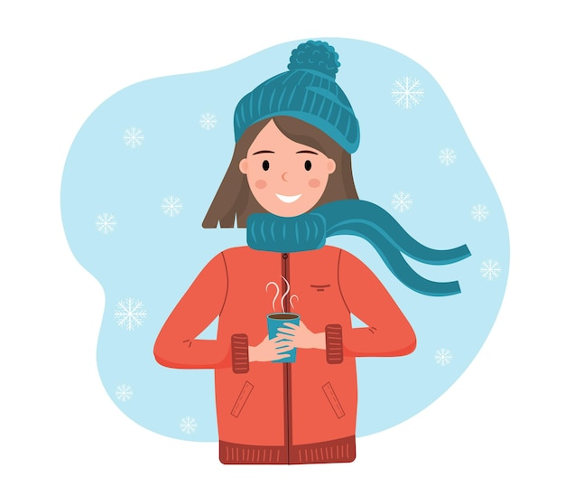Happy smiling girl in winter cloth with cup of hot drink in her hands falling snowflakes winter