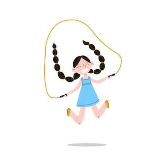 긴 검은 땋은 머리와 함께 행복 하 게 웃는 소녀는 밧줄 점프입니다.